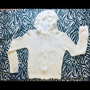 Delia's Net Jacket zip up long sleeves white small